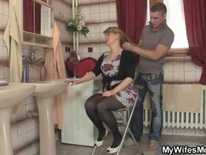 Smart man bangs his mother in law