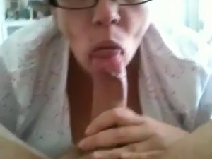 Chubby nerdy gf with glasses sucking cock