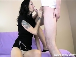 Tattooed brunette Hayden worships a big stick and takes a huge facial