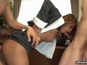 Asian secretary getting her pussy fucked