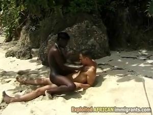 Hot hairy ebony takes white dick outdoor