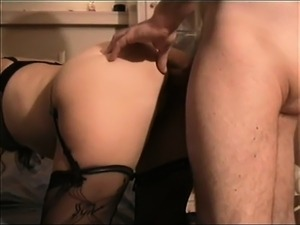 Sensuous blonde in black lingerie takes it hard and deep fr