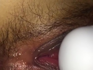Close up of wet hairy Japanese pussy