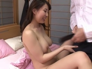 Long haired Japanese straddles adorably for perfect missionary sex