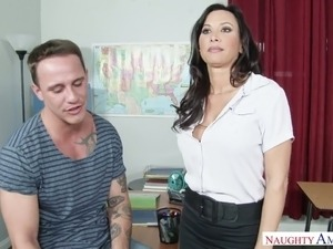 Perverted teacher Lezley Zen seduces student and fucks him furiously