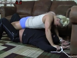 Tangent and Sydney dominate burglar with hard femdom action