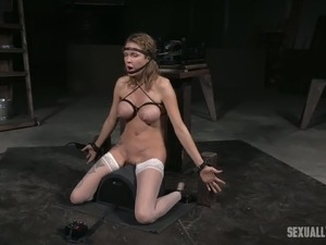 Pitiful tied up brunette  Rain DeGrey got mouth fucked by 2 BDSM men tough