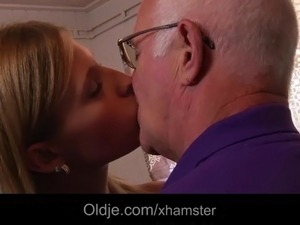 Horny college girl first time fucking grandpa after blowjob