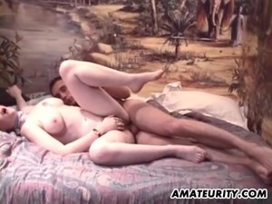Busty French hairy girlfriend anal fuck with cum