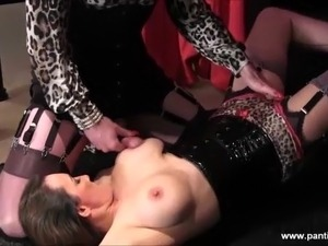 Sissy slut big cock teased and wanked then cum on milfs tits