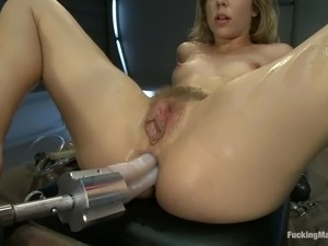 Chasity's bushy beaver is being penetrated by a device