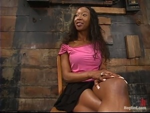 Tight bondage suspension in respect of an ebony slave