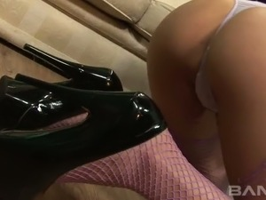 Tongue pierced blond cutie gets fucked in mish and cowgirl styles after solid BJ