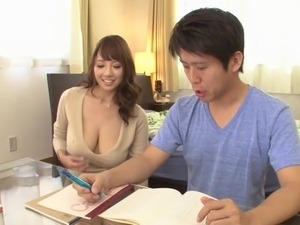 Delivery guy fucks this glorious big tits Asian babe