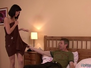 His brunette gf cheats with father-in-law