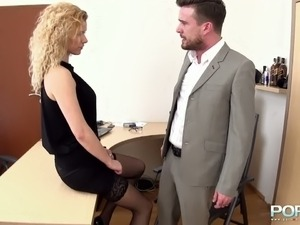Flirty blonde secretary got brutally fucked and fisted by her mean boss