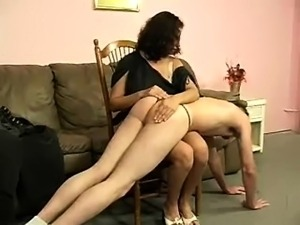 She punishes her man for lack of sex by spanking his ass red