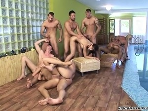 Lusty bisexual men get into a fuck fest with dudes and women