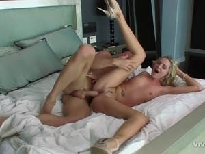 Beautiful blonde chick getting the best missionary treatment ever