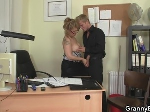 Office mature in white stockings seduces him