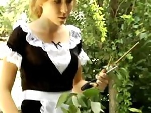BDSM-Loving Blonde Maid Gets Her Juicy Ass Spanked Hard With a Rod