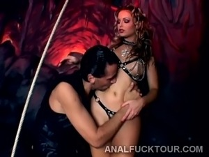 Rough double penetration for cockstarving goth bitch