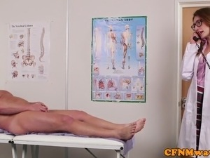 Spex dom CFNM doctor blowing patients cock