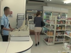 Big tits Japanese girl from the store fucks a stranger