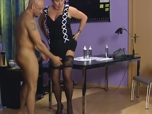 A couple of mature men have messy 3 some with kinky fattie