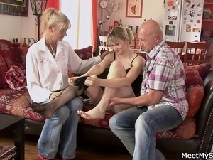 He finds her fucking with his olds!