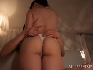 Cheerful Japanese babe with big tits riding a stiff cock until orgasm