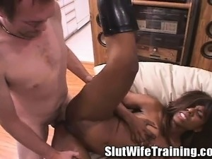 Sexy ebony wife in black boots has a fiery cunt needing to be drilled