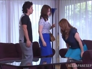 Japanese milf gets fucked hard in an office in gangbang clip