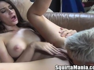 Buxom brunette Karina White gets her squirting snatch drilled by Dan