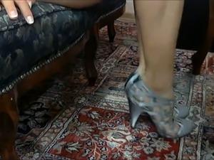 My bride demonstrates her beautiful pedicured feet