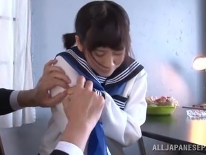 Hypnotizing Japanese babe in uniform giving a steamy blowjob