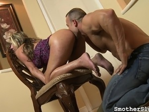 Ravishing blonde with a magnificent ass has a guy devouring her holes