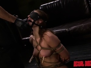 Buxom bondage nympho Callie Calypso gets her tight ass pounded rough