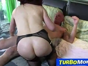Attractive redhead granny Sexy Vanessa stockings sex