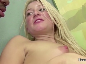 Black Monster Cock Fuck Young Blond Teen in Ass and Facial