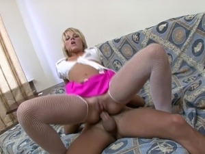 Petite blonde Nastia tries out anal and swallows lots of cum