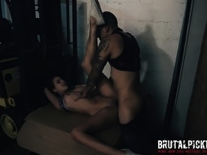 Slutty brunette with big boobs Ashley Adams is addicted to rough sex