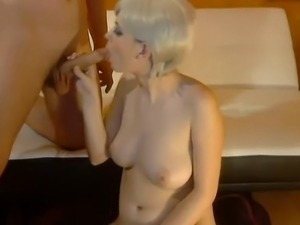 Blond big boobs tits riding and sucking big cock