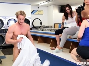 Exciting young chicks take turns on a long shaft in the laundry room