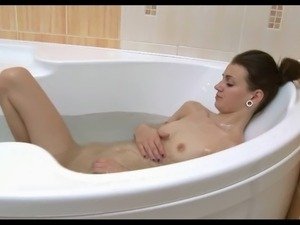 Skinny girl in the bath