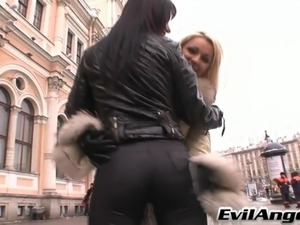 Hardcore anal whores riding cock and toy in FFM threesome