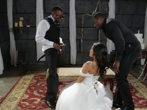 Black studs treat a pretty lady to an amazing sex session