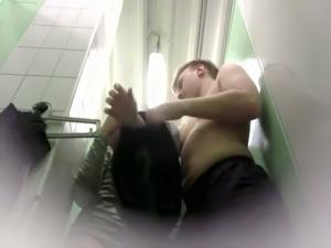 Spy cam in the changing room of amateur couple fucking mad
