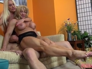 Two Muscle Women and One Guy