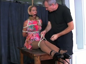 Nasty blonde in high heels is completely at the mercy of her master